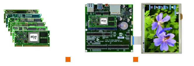 TRITON-TXFB Family Baseboard ARM SBC with module and display